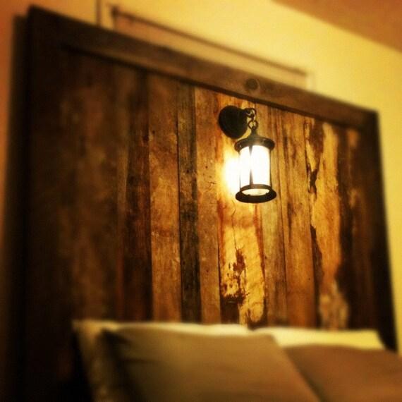 Rustic barnwood headboard with lighting kris by rebarnchf for Rustic headboard with lights