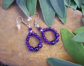 Polished Purple Amethyst Gemstone Bead Circle Hoop Earrings on Surgical Steel Wire - OOAK Nature Inspired Gift For Women - MountainUrsusDesigns