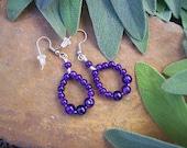 Polished Purple Amethyst Gemstone Bead Circle Hoop Earrings on Surgical Steel Wire - OOAK Nature Inspired Gift For Women - MountainUrsusDesigns