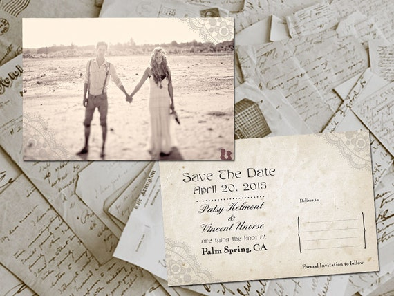 """Wedding Save The Date Card - HoverBay Vintage Lace Photo Personalized 4""""x6"""""""