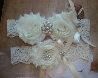 SALE - Shop Best Seller- Wedding Garter Set- Ivory Flowers on a Ivory Lace with Pearl & Rhinestone - Style G291