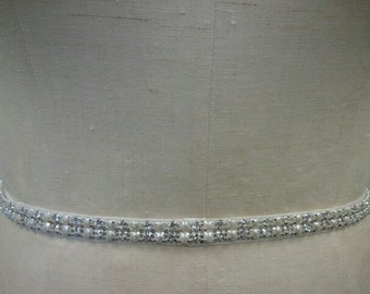 Wedding Belt, Bridal Belt, Bridesmaids Belt, Party Belt, Dazzeling Pearl & Crystal Rhinestone Belt - Style B1018