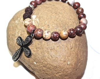 Yoga Bracelet - Cross Charm, Cross bracelet - meditation bracelet, Mala Beads Bracelet, Boho Spiritual Jewelry, Zen Jewelry