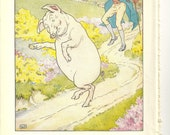 Four c1950s Funny Colour Pig Illustrations from the 'this little piggy' story, Original Vintage Antique Book Plates illustrations