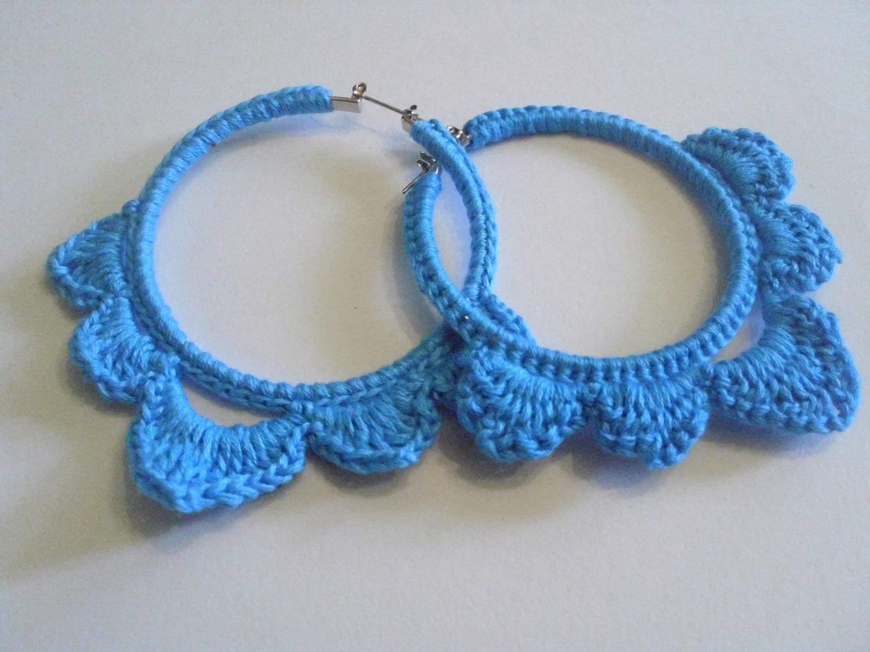 crochet hoop earring crochet earrings blue crochet earrings
