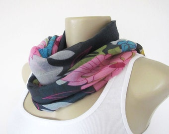 Floral Scarf Grey Blue Pink and Yellow Flowers Scarf