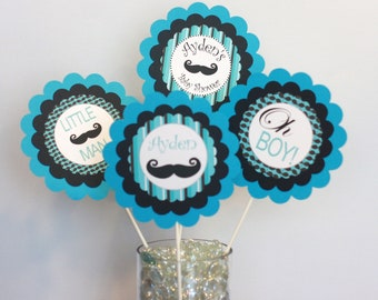 3 - Centerpieces or Cake Toppers Mustache Bash Little Man Baby Shower Collection