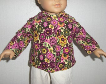 """18"""" Doll Coat - Made for Our American Girl doll: Corduroy Flowered Swing Style Jacket"""