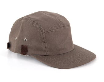 Khaki 5 Panel Snapback, Canvas Leather Snapback, Camper Hat Made in the USA