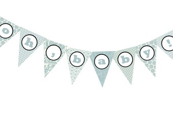 DIY Oh, baby shower banner printable file