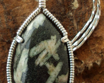 Chinese Writing Stone in Silver -- Dove