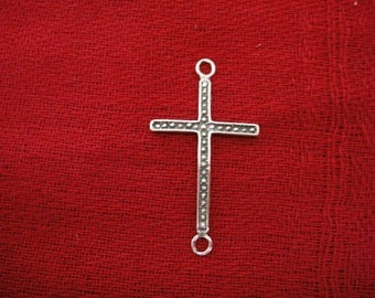 925 sterling silver oxidized sideways cross connector charm