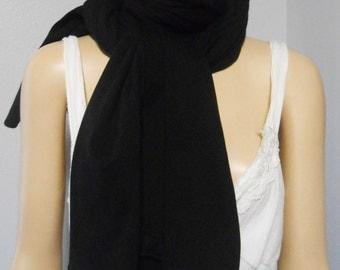 Long Solid Black  Neck Scarf SUPER Comfy Soft Knit