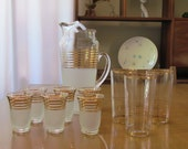 RESERVED FOR RACHEL - Vintage Gold-Rimmed Barware includes serving pitcher, circa 1950, 1960's