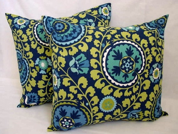 Throw Pillows Yellow And Blue : Two Decorative Pillows Blue and Yellow Suzani Print 16 x