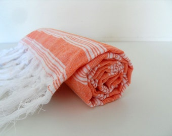 Thin Bath Towel, Turkish Towel, Peshtemal, Turkish Bath Towel, Coral Red Peshtemal, Turkish Beach Towel