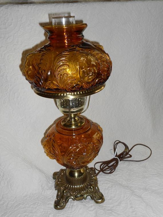 SALE Vintage Lamp Cherub Glass Shade Fenton Style SALE