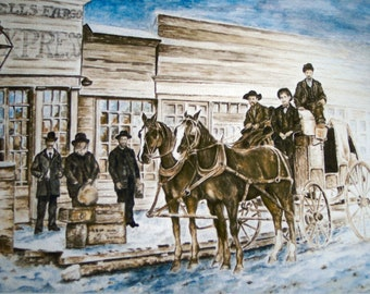 Western Decor - Old Western Stagecoach in town boarding for winter travel, giclee, print