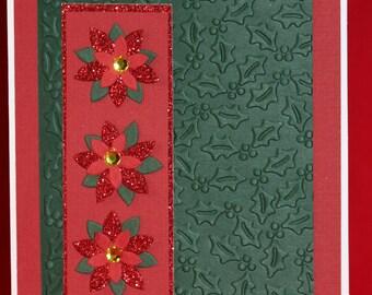 Poinsettia and Holly Handmade Christmas Card