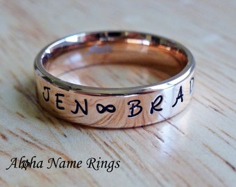 Personalized Hand Stamped Rose Gold Stainless Steel Name Ring - Promise Ring 6mm ANR-R-082