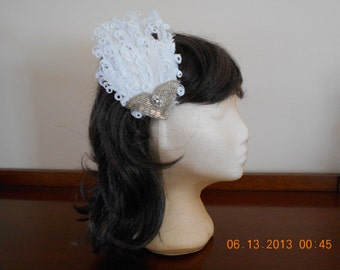 White Curled Feather Art Deco Wedding Fascinator with Vintage Silver Beaded Applique and Vintage Earing.