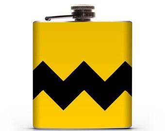 Charlie Brown Zig Zag - 6oz Hip Flask