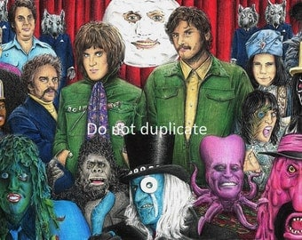 The Mighty Boosh montage 11 x 17 colored pencil drawing print