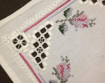 Small Hardanger embroidered linen tablecloth. Scandinavian handcraft.