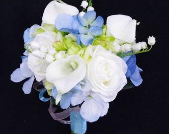 Wedding Bouquet Blue Hydrangeas, White Roses and Calla Lilies Silk Flower Bride Bouquet - Almost Fresh