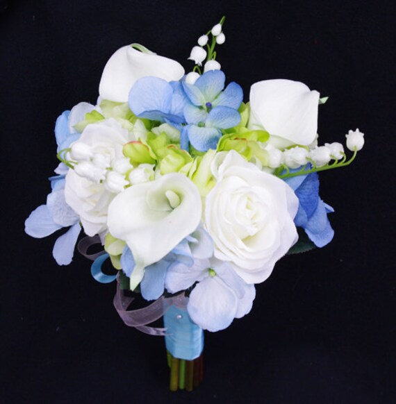 Bridal Bouquets Calla Lilies And Hydrangeas : Wedding bouquet blue hydrangeas white roses and calla lilies