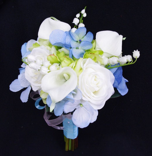 Blue Hydrangea Wedding Flowers: Wedding Bouquet Blue Hydrangeas White Roses And Calla Lilies