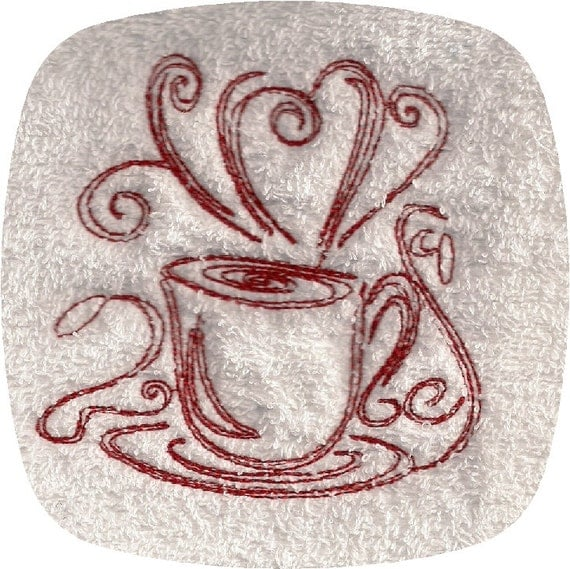 Items Similar To Instant Download Cups Of Coffee Redwork Embroidery Designs 4x4 On Etsy