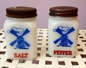 Vintage Hazel Atlas Range Shake Square Windmill Salt & Pepper Red Lids - SALE