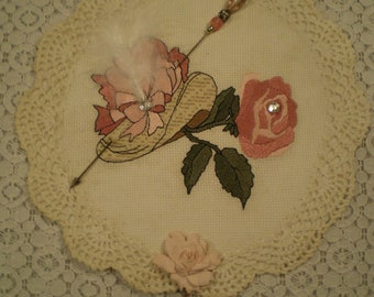 Victorian Hat With Rose Lace Wall Hanging