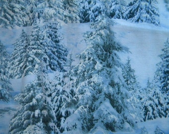 North American Wildlife fabric--snow covered trees--by the yard--Elizabeth's Studio