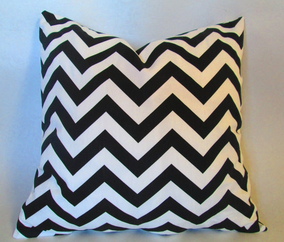 Chevron Decorative throw pillow cover in black and white