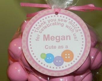 Cute As A Button Birthday Favor Tags-Cute As A Button