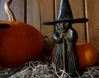 3 Primitive Blackened Beeswax Witches.