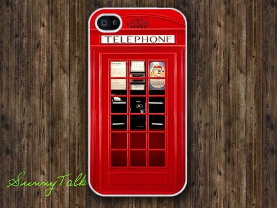 Iphone 4/4S Case - London Telephone Booth on White Iphone 4 Case, Iphone 4S case, Waterproof Plastic Hard Case