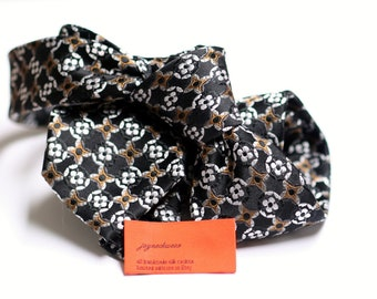 SKINNY Silk Tie in Neats with Black, White, and Brown