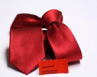 SKINNY Red Tie in Fine Twill