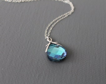 Aqua Vitrail Light Swarovski Briolette Necklace in STERLING SILVER CHAIN--Valentines Necklace--Bridesmaids Gift.Perfect Gift  for mom