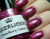 Strawberry Cosmo - Magenta Pink Hologram Holographic Glitter Custom Handmade Indie Nail Polish
