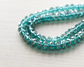 Glass Beads - 50 pcs Dark Green Faceted Round Glass Crystal Rondelle Beads Loose Beads - 5mm