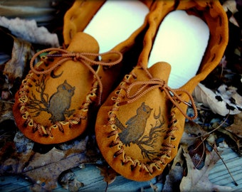 Get Leather Branding, Beadwork, or Feathers on your custom made Moccasins