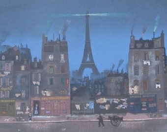 """Michel Delacroix """"Tour Eiffel la Nuit""""Limited Edition Lithograph -- Stone Signed Print"""