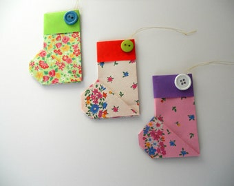 Set of Three Floral Origami Christmas Stocking Ornaments (Set 3)
