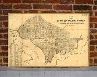 1846 Washington DC Vintage Map Canvas Print
