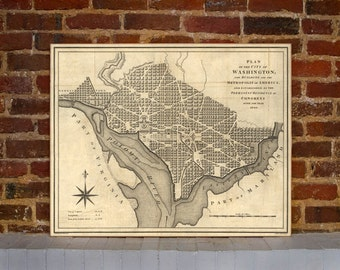 1793 Washington DC Vintage Map Canvas Print