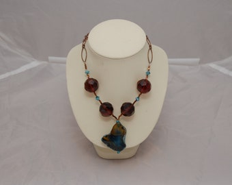 Dyed Agate and Brown Crystal Necklace